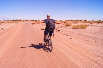 Chile - Atacama desert: Having a six hours cycling tour through the driest desert of the world. Unfortunately I had a flat tire on the way back which made it adventurous
