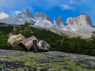 Chile - Patagonia: The last view point in the French Valley of the Torres del Paine trek
