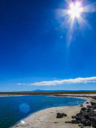 Chile - Atacama desert: On of the two salt lagoons in the midst of the desert