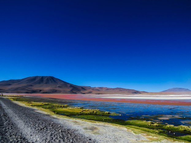 Uyuni - The Red Lagoon that gets it red color from algaes in the water.
