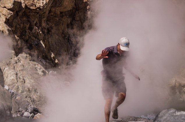 Colca Canyon - Me walking through hot steam coming from geysers in the ground
