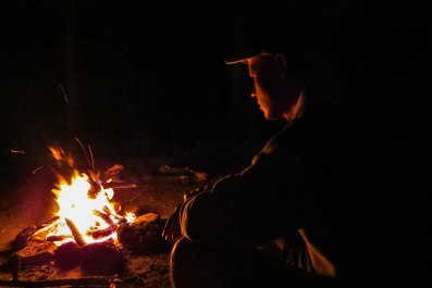Arizona - Campfire contemplation on one of the wild camp spots we found.