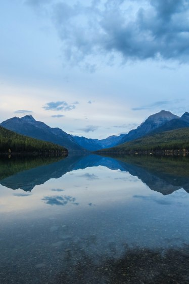 Montana - One of the many beautiful lakes of Glacier National Park which lies on the border to Canada.