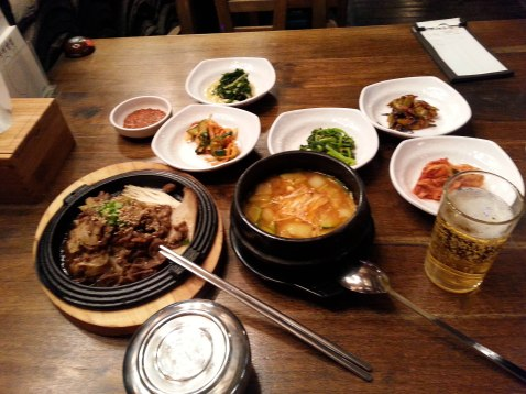 Korea - God how loved the food. It is super tasty, healthy and inexpensive. This whole set up cost me around 6 US Dollar.