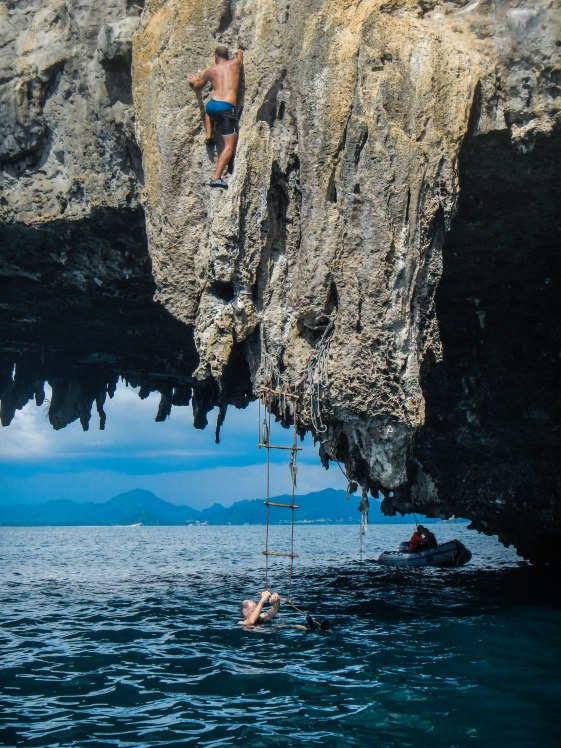 Thailand - Me doing deep water free soloing in the bay of Krabi. No strings attached. When you fall, you fall. The water was deep but hitting the surface in a wrong angle could still hurt like hell.