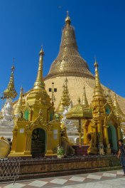Yangon - The mighty Shwedagon Pagoda. Which is covered by 27 tons of gold and thousands of diamonds and other gems. It is said to enshrine eight hairs of Buddha.