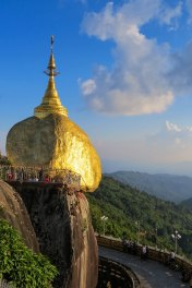 Kyaiktiyo - The stupa on top of the rock is said to contain a hair of Siddhartha Gautama the Buddha himself which keeps the rock in place.