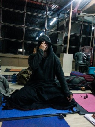 My buddy Saul practicing a breathing exercise and looking like a Sith lord.